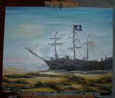 Black Pearl Driftwood Pirate Ship at New Brighton - oil painting by Adele Cosgrove-Bray, 2017.