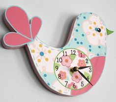 Love Bird Wooden WALL CLOCK for Girls Bedroom Baby by ToadAndLily, $45.00