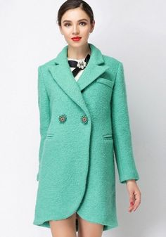 Green Plain Tailored Collar Tweed Coat