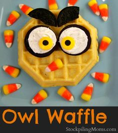 Owl Waffle,  He looks bespectacled doesn't he... on a side note : YUM!