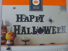 "Halloween Wall Art Wall Decoration Removable ""Happy Halloween"" Spiders Web New"