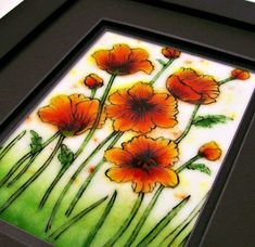 Fused Glass Painting (California Poppies) via Etsy