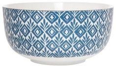 Clay Art Bowl 6in Porcelain - Blue Block Print