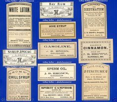 11 1860s BROWN PHARMACY Antique MEDICINE Bottle LABELS