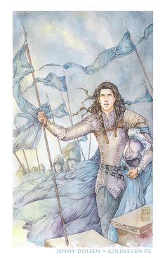 jennydolfen Then when Fingon heard afar the great trumpet of Turgon his brother, the shadow passed and his heart was uplifted, and he shouted aloud: 'Utúlie'n aurë! Aiya Eldalië ar Atanatári, utúlie'n aurë!' Watercolour and gel pen on Fabriano No. Tolkien, O Silmarillion, Middle Earth Books, The Valiant, Legolas, Lotr, The Hobbit, Storytelling, Giclee Print