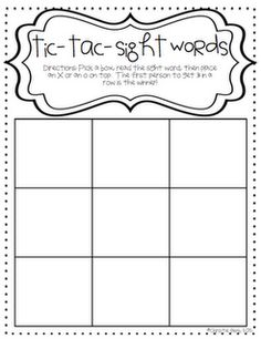 tic tac toe homework template - free spelling or sight word bingo template or love this
