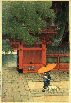 yama-bato:      May Rain at Sanno Temple by Kawase Hasui, 1919(published by Watanabe Shozaburo)
