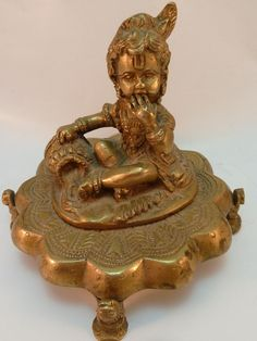 Brass Krishna Statue Butter Thief Devotional Hindu India