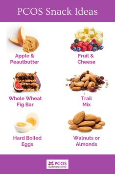 It's important for women with PCOS to eat often throughout the day. This decreases cravings and binges, gives you energy, and helps prevent low blood sugar. What are some of your favorite snacks? Équilibrer Les Hormones, Pcos Meal Plan, Health Meal Plan, Insulin Resistance Diet, Diet Recipes, Healthy Recipes, Ketogenic Recipes, Easy Recipes, Weight Loss Meals