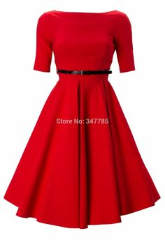 2014 summer women vintage 50s retro rockabilly pinup boat neck half sleeve swing knee-length a-line red plus size dress vestidos(China (Mainland))