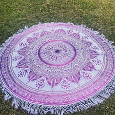 Pink Roundie Boho Beach Mandala Blanket With White Hippie Fringes ($58) ❤ liked on Polyvore featuring home, bed & bath, bedding, blankets, blankets & throws, grey, home & living, throws, pink cotton blanket and cotton throw blanket