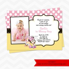Baby minnie mouse 1st birthday custom photo birthday party baby minnie mouse invitations free thank you card filmwisefo