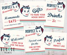 Retro Bridal Shower Decorations Housewife Retro 1950's Perfect Housewife 50's Kitchen Bridal Shower Signs Invitation to match in shop by littlebirdieprints on Etsy https://www.etsy.com/listing/234996007/retro-bridal-shower-decorations