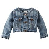 Updated with a collarless design, this classic denim jacket is a polished layer for all of her outfits.<br>