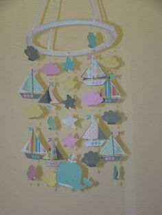 Sailboat Baby Mobile Girl Pink and Lavender by magicalwhimsy, girl sailboat mobile