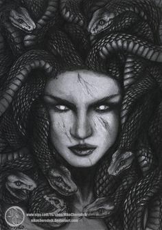 Medusa Graphite Drawing by Niko Cherednik