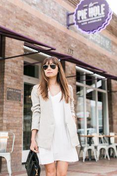 linen blazer, pinstripe blazer, white shift dress outfit, Celine nano, petite blogger, Style on Friday