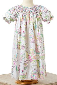"""Le' Za Me Smocked Dress in """"Tea Party"""""""