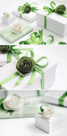 Pretty gift wrapping with handmade flowers