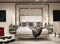 Polished Stainless Steel Canopy Four Poster Bed, Bed Down Furniture Atlanta Home Decor Bedroom, Home Bedroom, Bedroom Interior, Bedroom Design, Furniture, Master Bedrooms Decor, Bernhardt Furniture, Home Decor, Apartment Decor