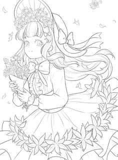 Manga Coloring Book, Cute Coloring Pages, Coloring Books, Anime Drawings Sketches, Anime Sketch, Cute Drawings, Lineart Anime, Book Flowers, Kawaii Anime