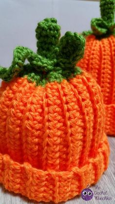 (4) Name: 'Crocheting : Pumpkin Beanie