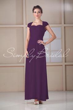 #85117 - Sweetheart Floor-length Dress with Capsleeves - Bridesmaid Dress - Simply Bridal