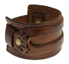Unisex Brown Classy Leather Bracelet, High Quality Brown Leather, Will Fit Wirst 7.5″-8.5″, Makes for a perfect Gift