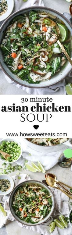 30 minute Asian Chicken Soup - noodle free! I howsweeteats.com @how sweet eats