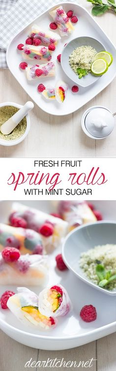 Vegan Fresh Fruit Spring Rolls with Mint Sugar. An easy recipe and a delicious dessert for garden parties.