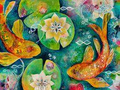 Koi Pond, Original Acrylic Painting on Canvas by JenniferCurrieArt on Etsy https://www.etsy.com/listing/213279059/koi-pond-original-acrylic-painting-on