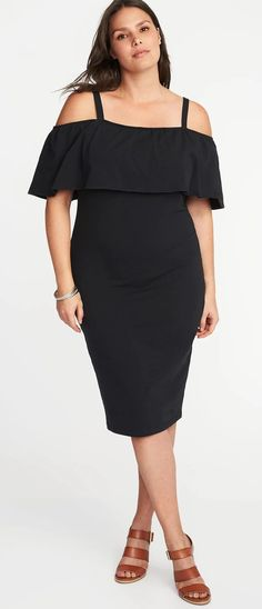 Plus Size Off-the-Shoulder Bodycon Dress #Plussizepartydress