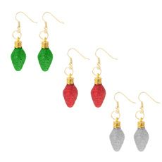 Red, Green and Silver Glitter Light Bulb Drop Earrings