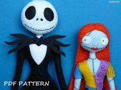 Patrón PDF para hacer Jack Esqueleto y Sally de fieltro