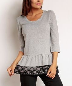 Another great find on #zulily! Gray & Black Lace Peplum Top #zulilyfinds