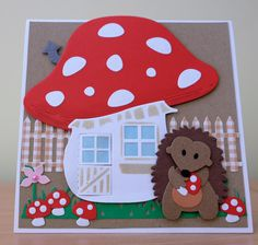 Handmade Birthday Card - Marianne Collectables Hedgehog & Mushroom House Die. To purchase my cards please visit the CraftyCardStudio on Etsy.com. Birthday Bulletin, Hedgehog Birthday, Paper Art, Paper Crafts, Hedgehog Craft, Marianne Design Cards, Baby Quiet Book, General Crafts, Handmade Birthday Cards