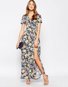 Club L | Club L Maxi Dress With Front Split In Floral Tile Print at ASOS