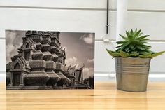Canvas Photography Buddhist Temple in black and white
