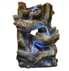 Alpine Corporation Tiered Log Tabletop Fountain with LED Lights - Indoor/Outdoor Water Fountain Décor Tabletop Water Fountain, Indoor Fountain, Fountain Garden, Fountain Ideas, Fountain Design, Top Fontes, Sounds Of Birds, Outdoor Lighting, Outdoor Decor