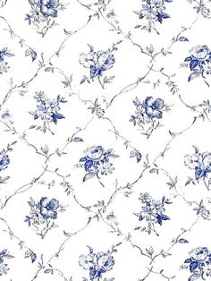 Beautiful blue and white wallpaper. Type: Wallpaper Pattern Number: Book Name: English Country Prints Page 186 Decoupage Vintage, Art Vintage, Decoupage Paper, Vintage Paper, Doll House Wallpaper, I Wallpaper, Pattern Wallpaper, Wallpaper Backgrounds, Remove Wallpaper