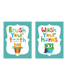 Take a look at this Blue 'Brush Your Teeth' & 'Wash Your Hands' Print Set by Ellen Crimi-Trent on @zulily today!
