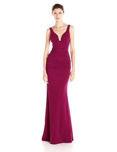 Nicole Miller Women's Plunge Structured Heavy Jersey Gown * You can find more details by visiting the image link. (This is an affiliate link) #FormalDress