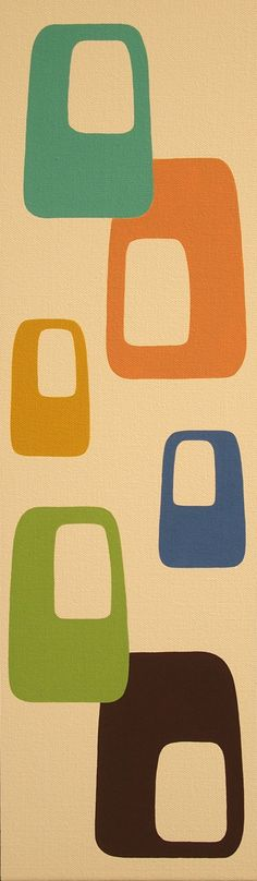 8 X 24 Original Painting Mid Century Modern by donnamibus on Etsy