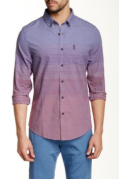 Long Sleeve Slim Fit Transition Mini Check Shirt by Ben Sherman on @HauteLook