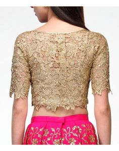 Buy Lace Gold Crop Top Available at Ogaan Online Shop
