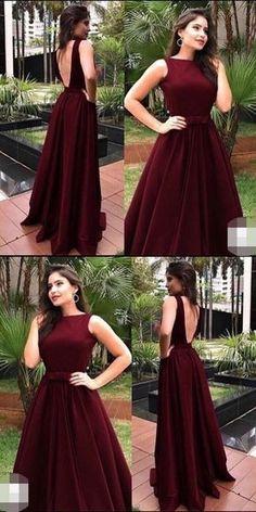 ad9e03703f Elegant O-Neck Backless Burgundy Prom Dresses