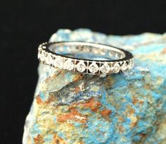 Vintage White Sapphire Eternity Band - Size 7