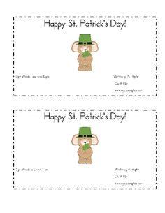 St. Patricks Day Emergent Reader