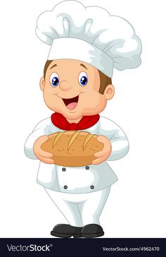 Cartoon chef holding a loaf of bread vector image on