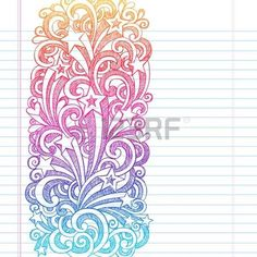 Shooting Stars Hand-Drawn Sketchy Back to School Notebook Doodles with Starbursts, Swirls, and Stars- Illustration Design Elements on Lined Sketchbook Paper Background photo